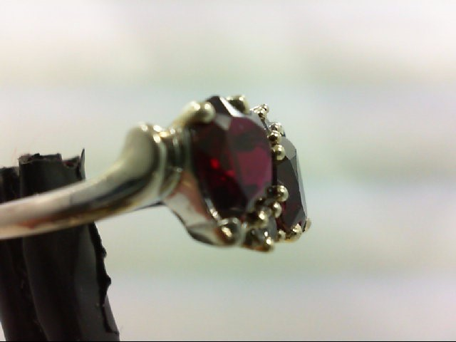 Red Stone Lady's Stone Ring 10K White Gold 3.2g Size:7.3