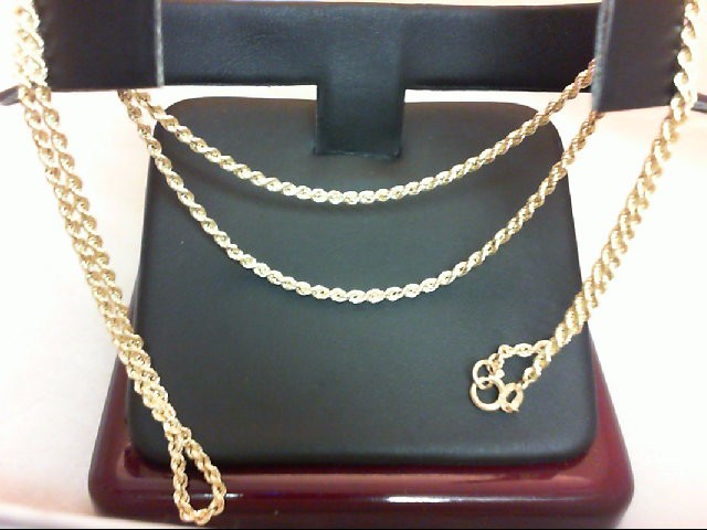 """20"""" Gold Rope Chain 14K Yellow Gold 3g"""