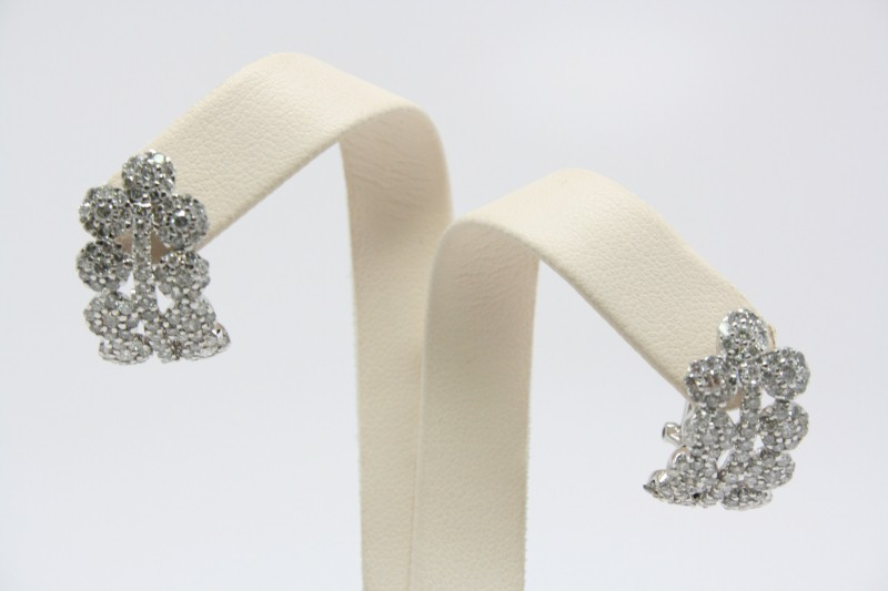 CLUSTER DIAMOND EARRINGS 14K WG