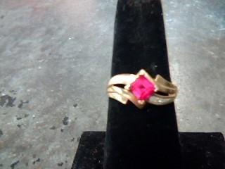 Synthetic Ruby Lady's Stone & Diamond Ring 6 Diamonds .12 Carat T.W.