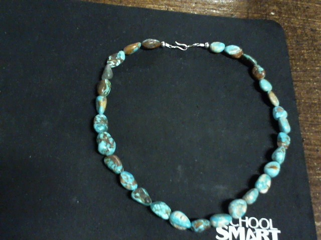 """16""""  Turquoise Stone Necklace 27dwt"""