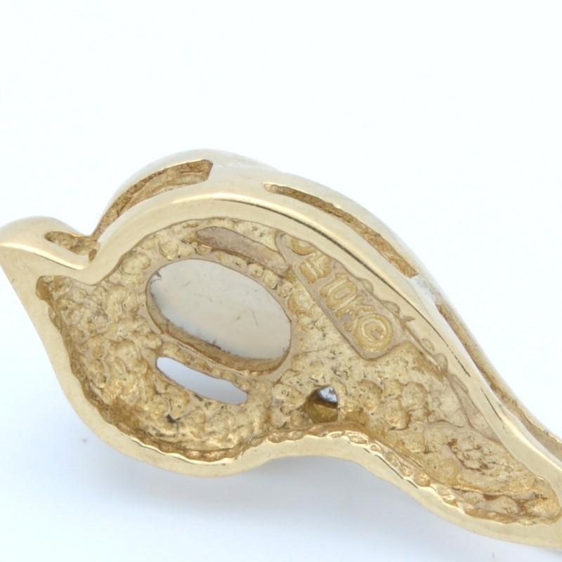 ESTATE OPAL DIAMOND PENDANT CHARM SOLID 10K YELLOW GOLD OVAL CUT