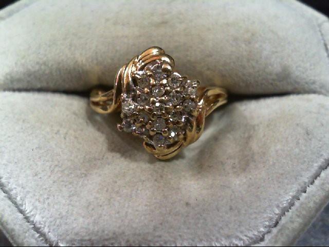 Lady's Diamond Cluster Ring 17 Diamonds .34 Carat T.W. 14K Yellow Gold 4.7g
