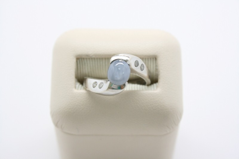 LADY'S STAR SAPPHIRE WITH DIAMOND 14K WHITE GOLD