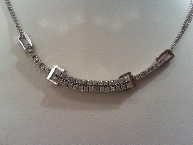 Diamond Necklace 43 Diamonds .86 Carat T.W. 14K White Gold 5.9g