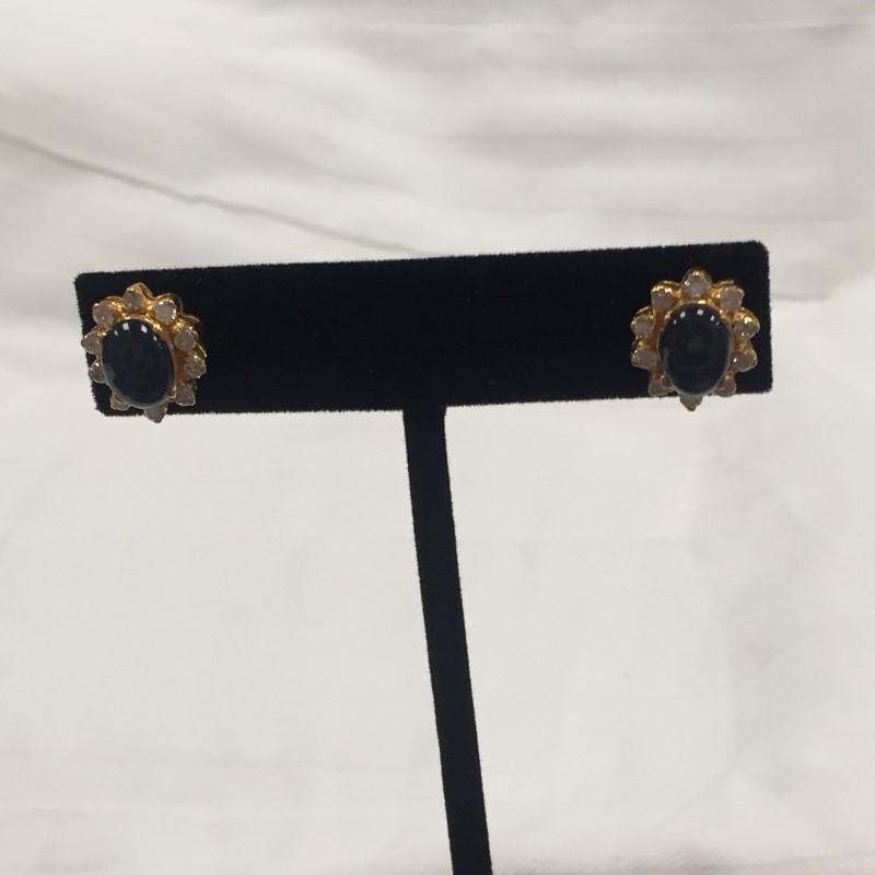 Sapphire Gold-Diamond  Earrings 20 Diamonds .80 Carat T.W.