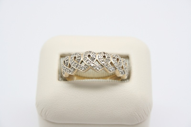 RIBBON DESIGN DIAMOND RING 14K YELLOW GOLD