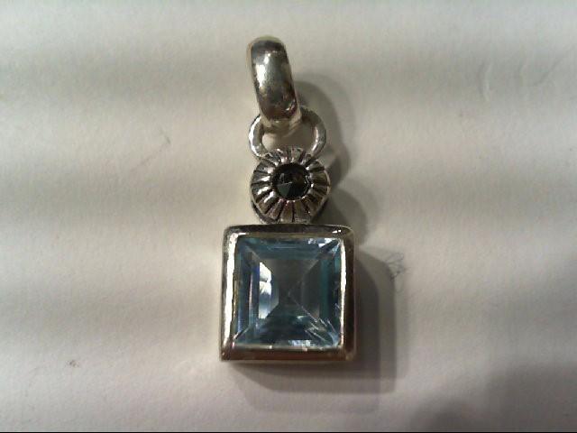 Blue Topaz Silver-Stone Pendant 925 Silver 1.7g