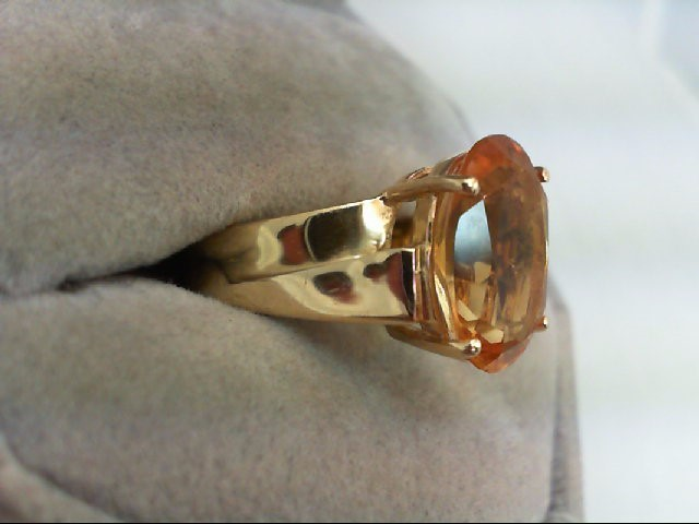 Citrine Lady's Stone Ring 14K Yellow Gold 4.9g