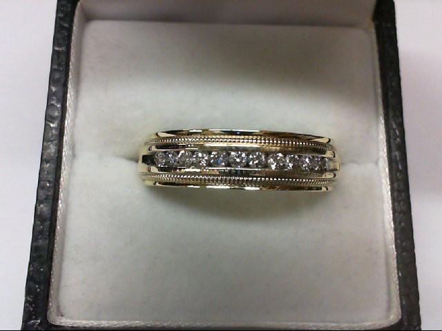 Gent's Gold-Diamond Wedding Band 12 Diamonds .36 Carat T.W. 14K Yellow Gold