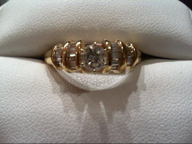 Lady's Diamond Engagement Ring 21 Diamonds .80 Carat T.W. 14K Yellow Gold 4g