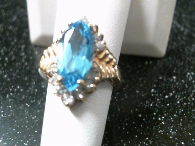 Synthetic Blue Topaz Lady's Stone & Diamond Ring 14 Diamonds .42 Carat T.W.