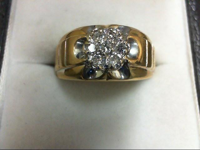 Gent's Diamond Cluster Ring 7 Diamonds 0.28 Carat T.W. 10K Yellow Gold 4.4g