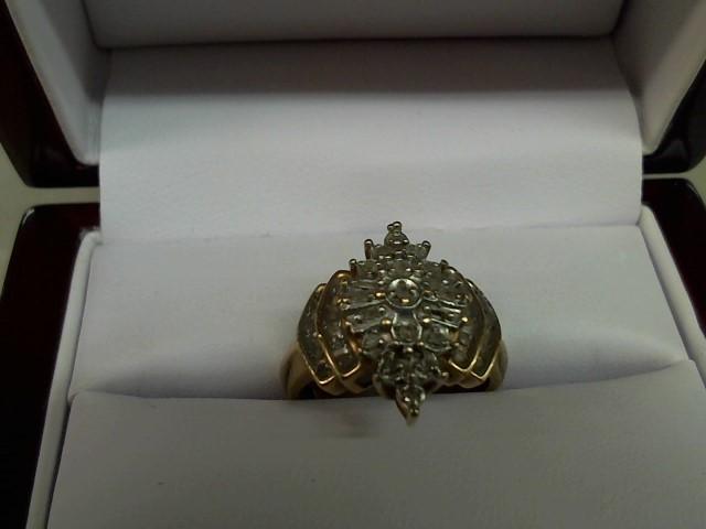 Lady's Diamond Cluster Ring 37 Diamonds .42 Carat T.W. 10K Yellow Gold 4.8g
