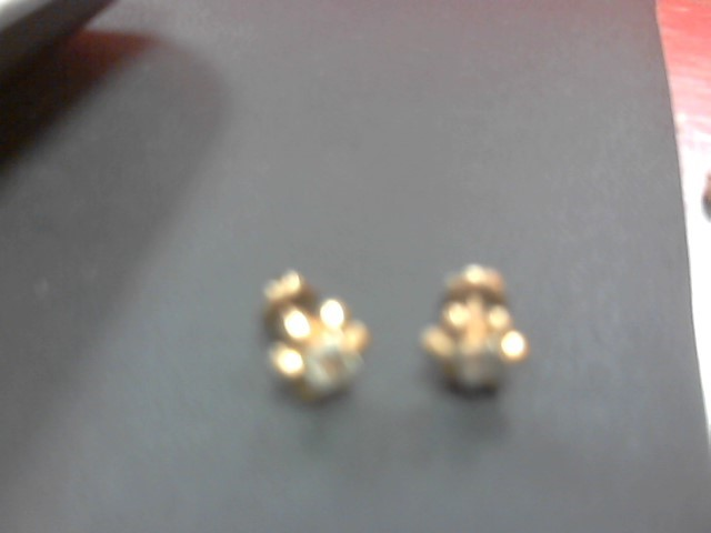 Cubic Zirconia Gold-Stone Earrings 14K Yellow Gold 2.1g