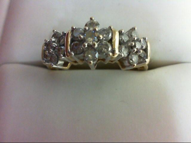 Lady's Diamond Cluster Ring 21 Diamonds 1 Carat T.W. 10K Yellow Gold 4.2g Size:7