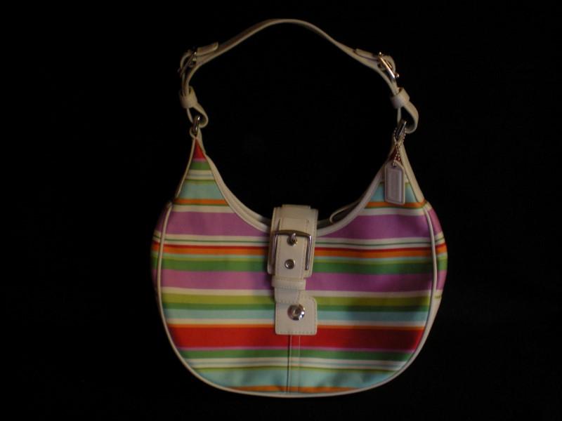 COACH F10702 STRIPED HOBO BAG