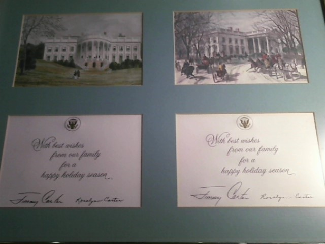 JIMMY AND  ROSYLIN CARTER SIGNED CHRISTMAS CARDS