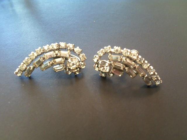 Synthetic Cubic Zirconia Silver-Stone Earrings 925 Silver 4.6g