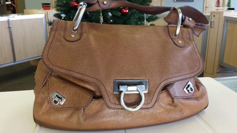 SALVATORE FERRAGAMO Handbag BROWN FRAME SATCHEL