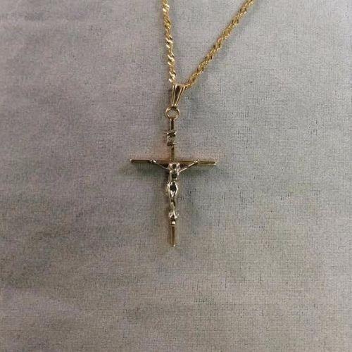 Beautiful 14K Yellow & White Gold Two Toned Jesus Crucifix Cross Pendant