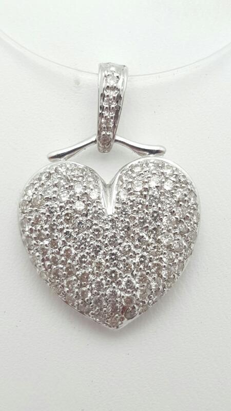 18kw Heart Pave Pendant 97 Round Diamonds .97 Carat T.W. 18kw 2.5g