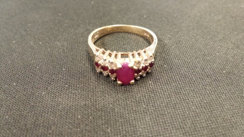 LDS 14KT Synthetic Ruby Lady's Stone & Diamond Ring RUBY AND DIA