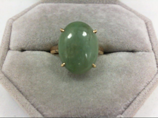 Jade Lady's Stone Ring 14K Yellow Gold 3.7g