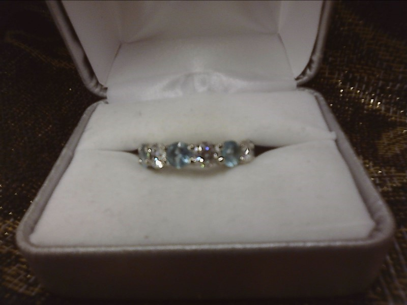 STERLING SILVER RING W/ ALTERNATING AQUAMARINES & CZ'S AROUND WHOLE BAND SIZE: 6