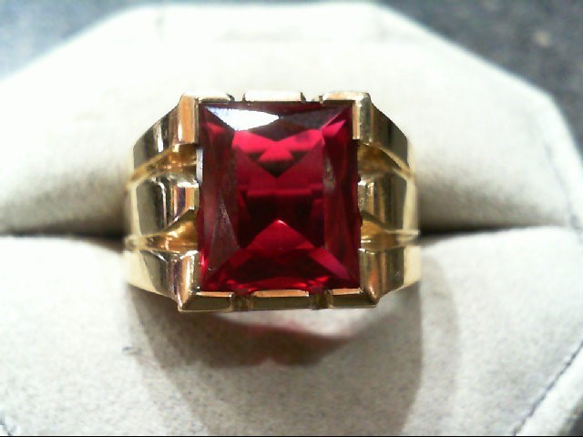 Red Stone Gent's Stone Ring 10K Yellow Gold 8g