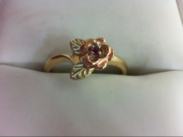 Ruby Lady's Stone Ring 10K Tri-color Gold 2.4g