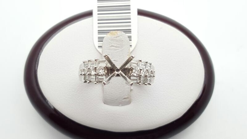 Lady's Diamond Engagement Ring 20 Diamonds .72 Carat T.W. 18K White Gold 6.2g