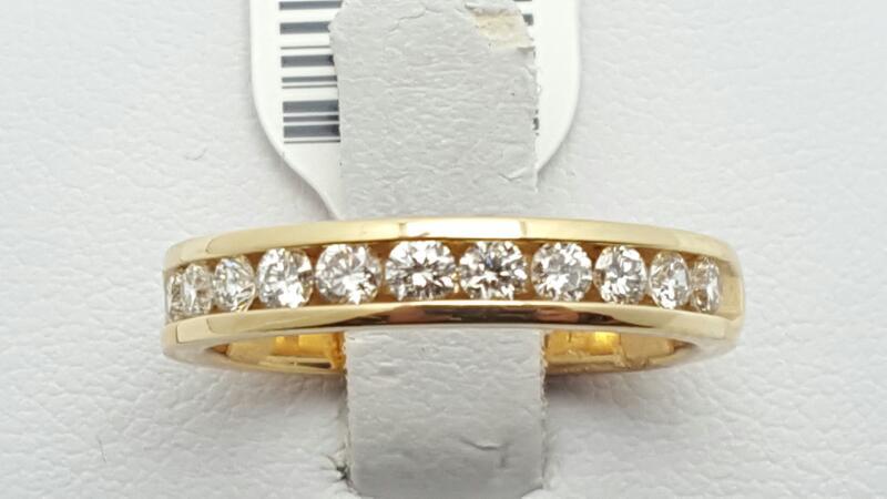 Lady's Gold-Diamond Anniversary Ring 11 Diamonds 0.51 Carat T.W. 14K Yellow Gold