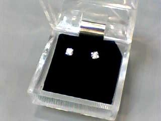 Gold-Diamond Earrings 2 Diamonds .06 Carat T.W. 10K White Gold 0.3dwt