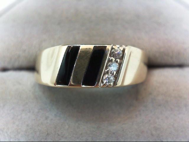 Gent's Diamond Fashion Ring 3 Diamonds .06 Carat T.W. 10K Yellow Gold 4.8g