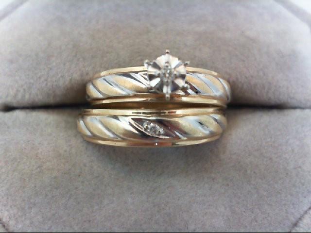 Lady's Diamond Wedding Set 2 Diamonds 0.03 Carat T.W. 10K 2 Tone Gold 4.5g