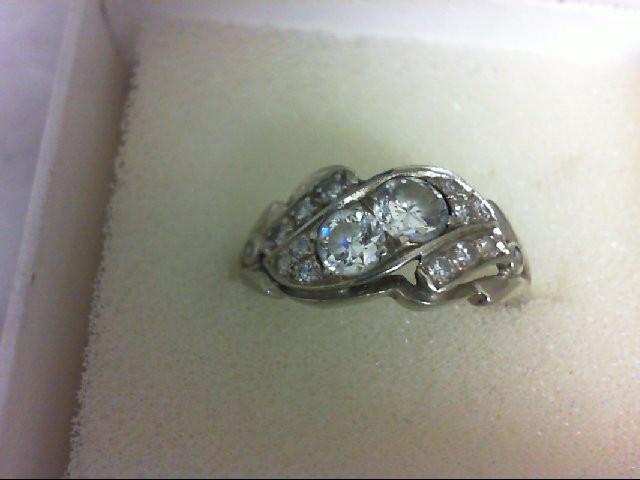 Lady's Diamond Fashion Ring 18 Diamonds 0.75 Carat T.W. 14K White Gold 2.71g