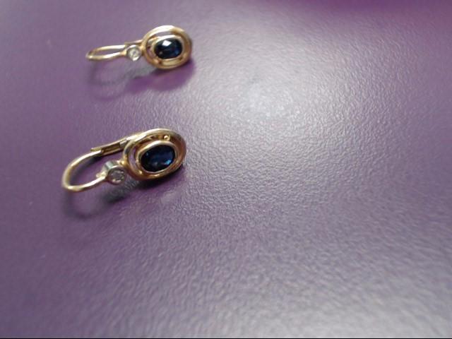 Sapphire Gold-Stone Earrings 18K Yellow Gold 2.9g
