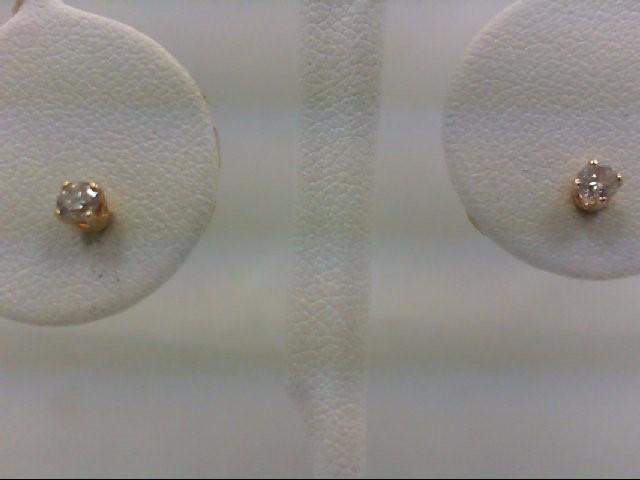 Gold-Diamond Earrings 2 Diamonds 0.2 Carat T.W. 14K Yellow Gold 0.8g