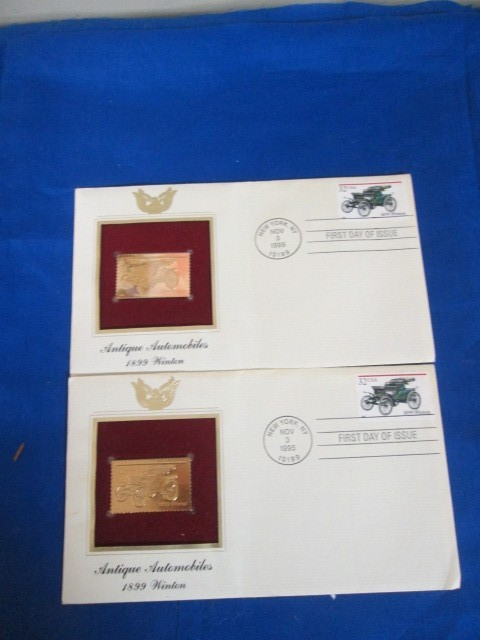 2 FIRST DAY COVER STAMP ART OF ANTIQUE AUTOMOBILES.