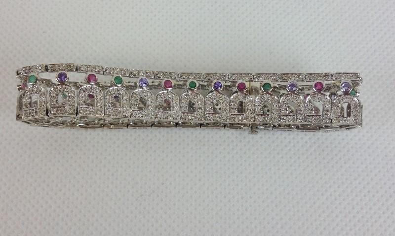 Emerald Ruby Sapphire Amthyst Diamond 14kt Vintage 15.4g Bracelet