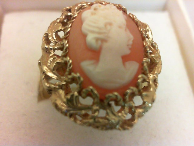 Cameo Lady's Stone Ring 18K Yellow Gold 6.2g