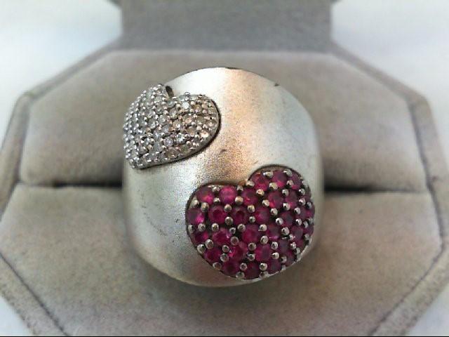 Ruby Lady's Silver-Diamond & Stone Ring 58 Diamonds .58 Carat T.W. 925 Silver