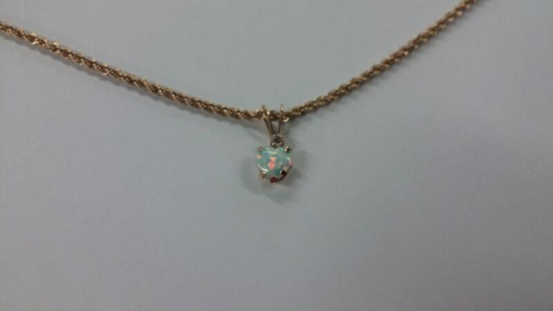 "18"" Gold Chain 10K Yellow Gold opal pendant"
