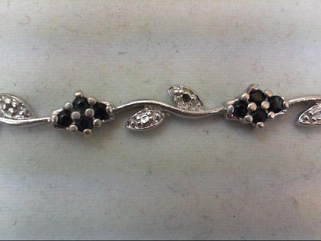 Sapphire Silver-Diamond & Stone Bracelet 16 Diamonds .16 Carat T.W. 925 Silver