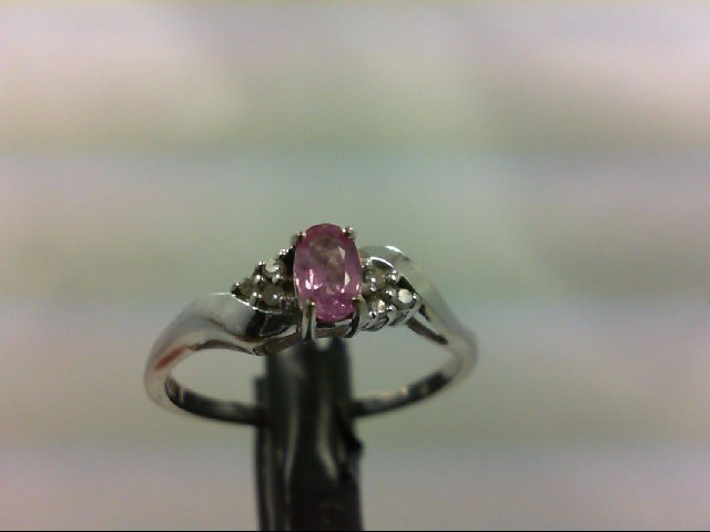 Purple Sapphire Lady's Stone & Diamond Ring 6 Diamonds 0.06 Carat T.W. 10K White