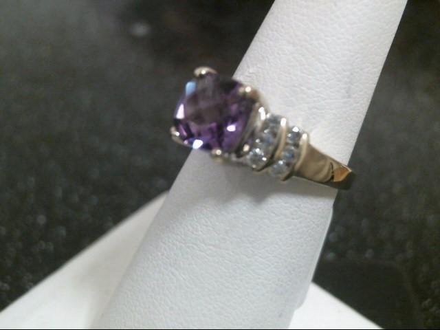 Synthetic Tanzanite Lady's Stone & Diamond Ring 12 Diamonds .72 Carat T.W.