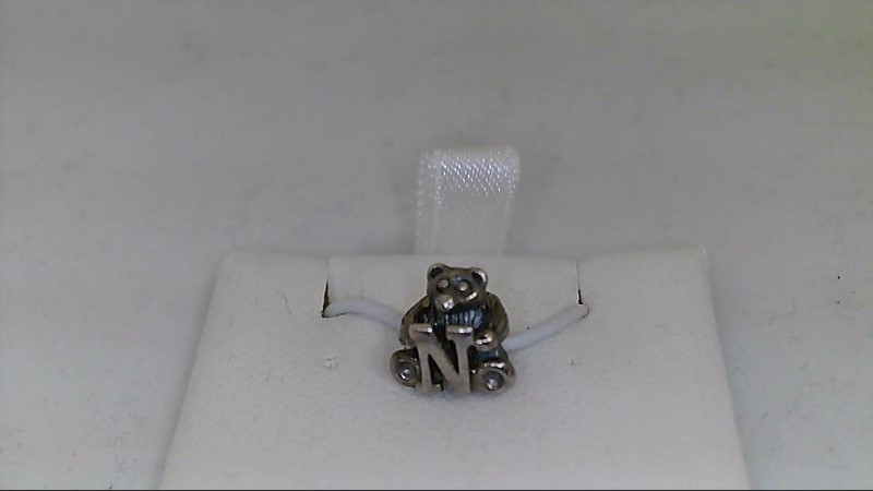 "New Reflections Alphabet Bear ""N"" Bead 925 Silver 1.1g"