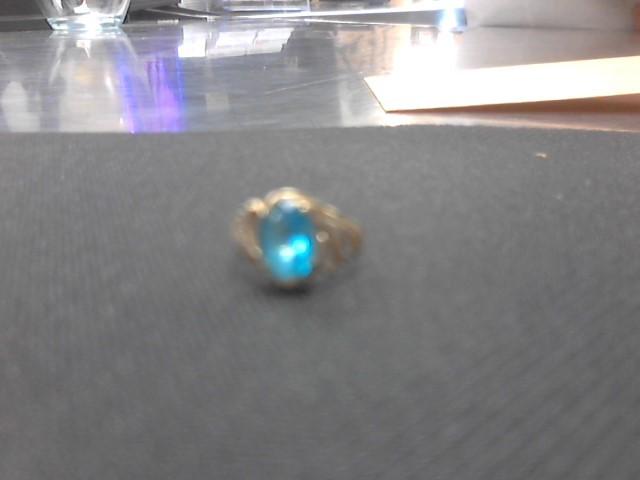 Synthetic Blue Topaz Lady's Stone & Diamond Ring 2 Diamonds .010 Carat T.W.