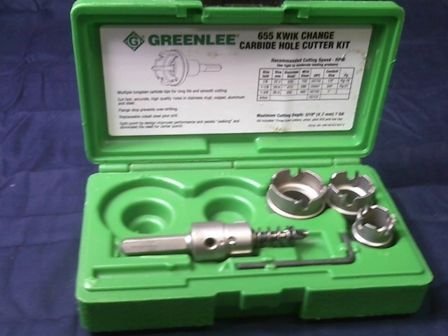 GREENLEE Miscellaneous Tool 655 QUICK CHANGE CARBIDE HOLE CUTTER KIT